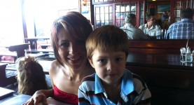 Noah and Ceci at a restaurant in Glencairn